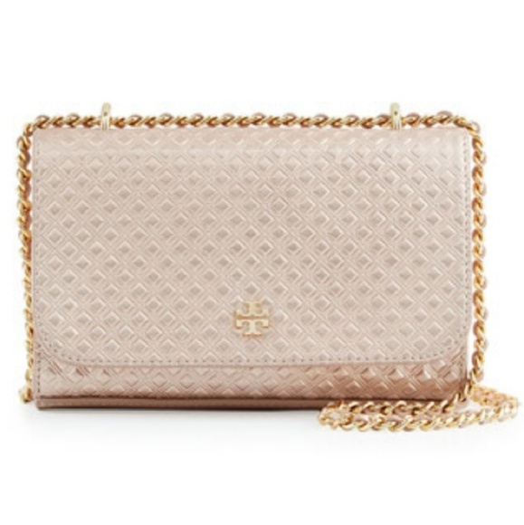 c71e43de03fc Tory Burch Marion Metallic Rose Gold Crossbody